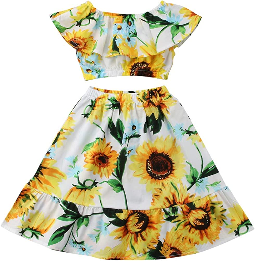 Toddler Kids Baby Girls Off Shoulder Crop Tops Ruffle Sunflower Skirt Outfit Clothes Set
