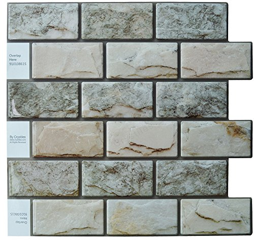 Kitchen Backsplash Tile Ideas - Crystiles Peel and Stick DIY Backsplash Tile Stick-on Vinyl Wall Tile, Perfect Backsplash Idea for Kitchen n Bathroom Décor Project, Natural 3D Granite, Item #91010861, 10