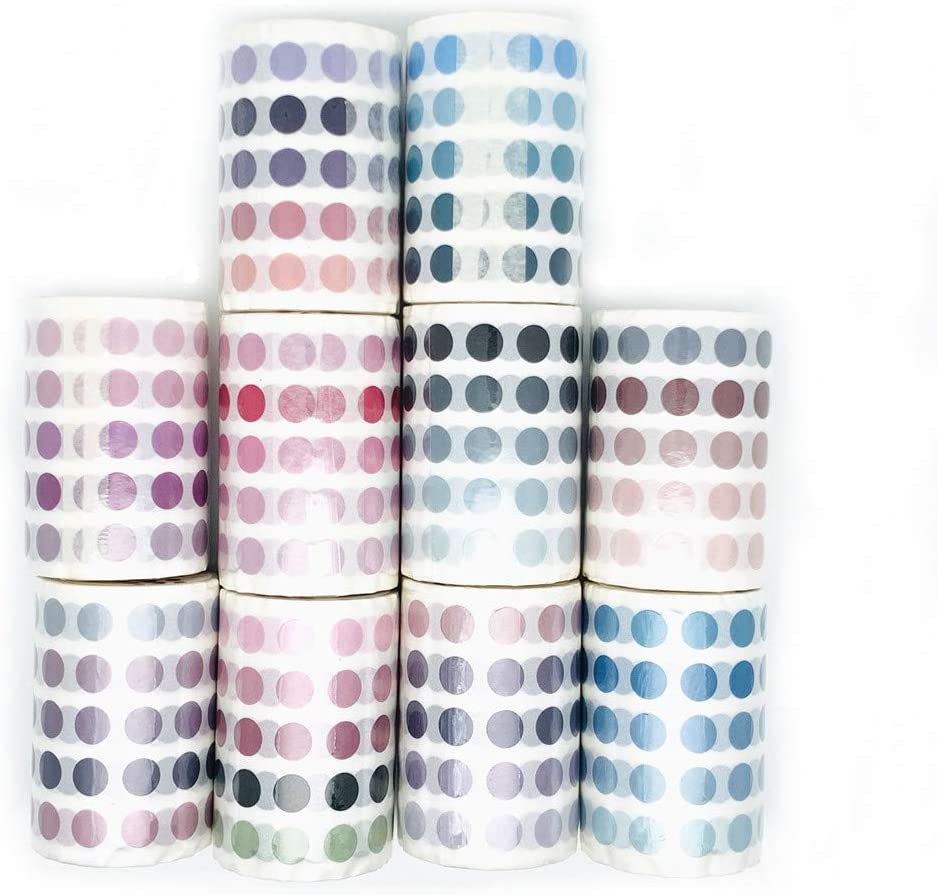 Black//Grey 336Pcs//roll Colorful Morandi Dots Washi Tape Round Stickers Dot Stickers for DIY Decorative Diary Planner Scrapbooking Photo Ablums