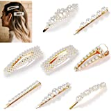 8pcs Pearls Hair Clips Set for Women Girls, Fashion Sweet Artificial Pearl Barrettes, Hair Accessories for Party, Birthday Valentines Day Gifts