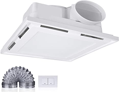 Exhaust Fan with Light Duct Tube Thin for Bathroom and Household ...