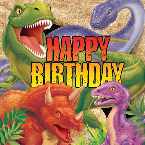 - Creative Converting Dino Blast Happy Birthday 16 Count 3-Ply Paper Lunch Napkins