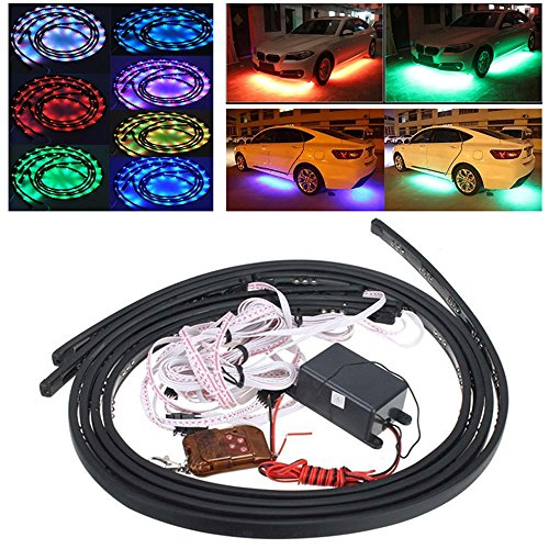 FICBOX 4x LED RGB 7 Color Strip Under Car Tube Underglow Underbody System Neon Light Kit With Remote Control 36