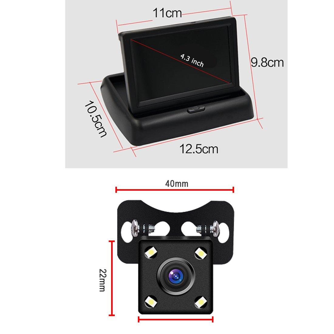 Pathson Cam/éra de recul de trajectoire Intelligente de la Voiture avec Une Ligne modifiable automatiquement et Un Module de capteur Image CCD,4 lumi/ères LEDs Vision Nocturne