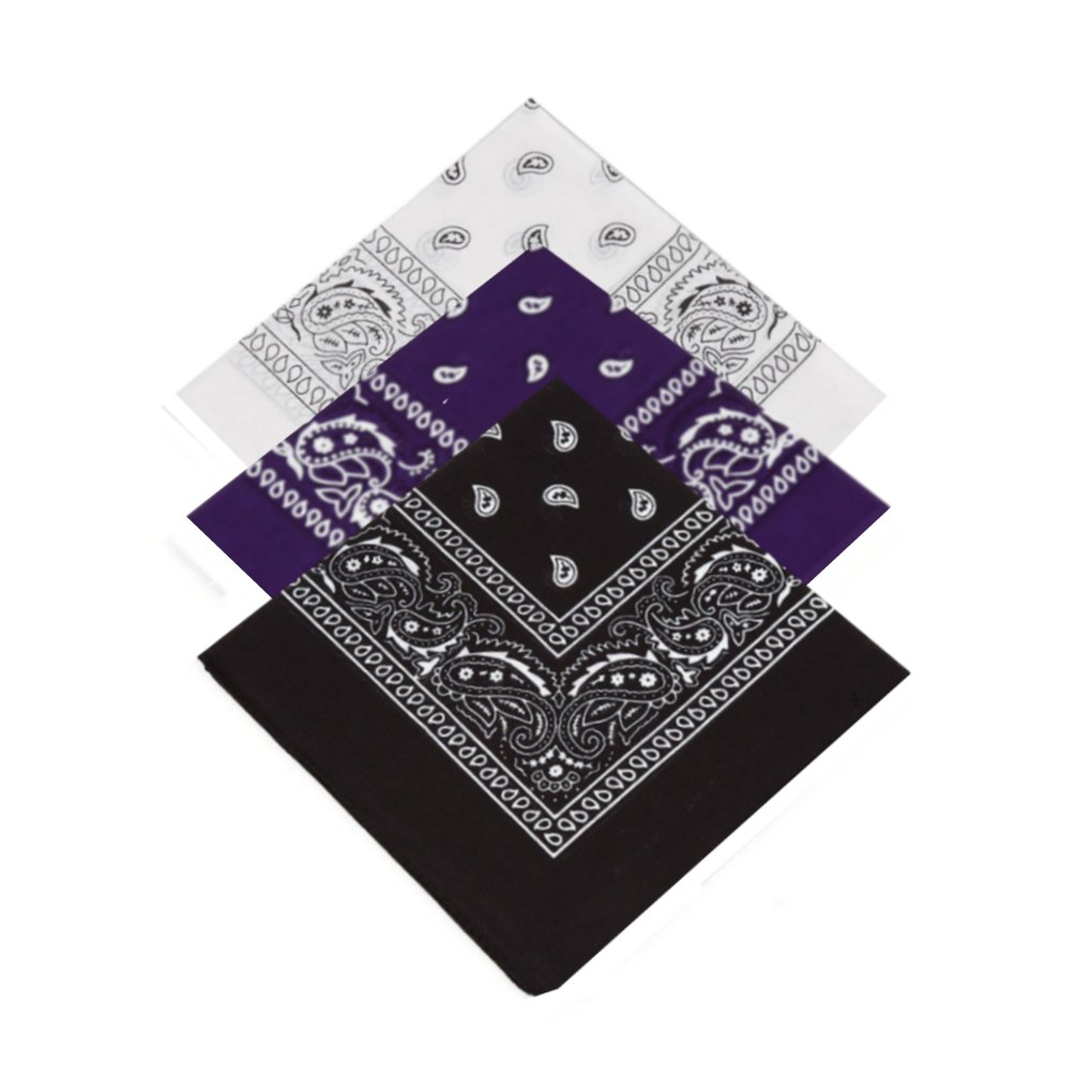 Set of 3 x Paisley Bandana Scarf / Neckerchief / Headscarf / Bandanna Headband for Men, Ladies, Kids, Boys & Girls Ideal 4 Dressing up, Partying, casual clothing dressing (White, Purple, Black)