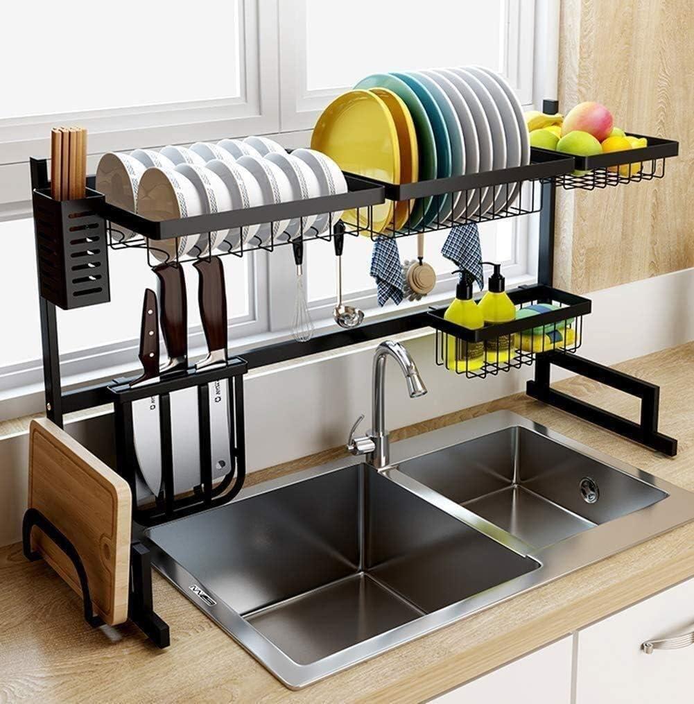 キッチンラック、ステンレス製食器棚、シンク食器ラック、食器収納ボックス、キッチンラック(サイズ:85CM)
