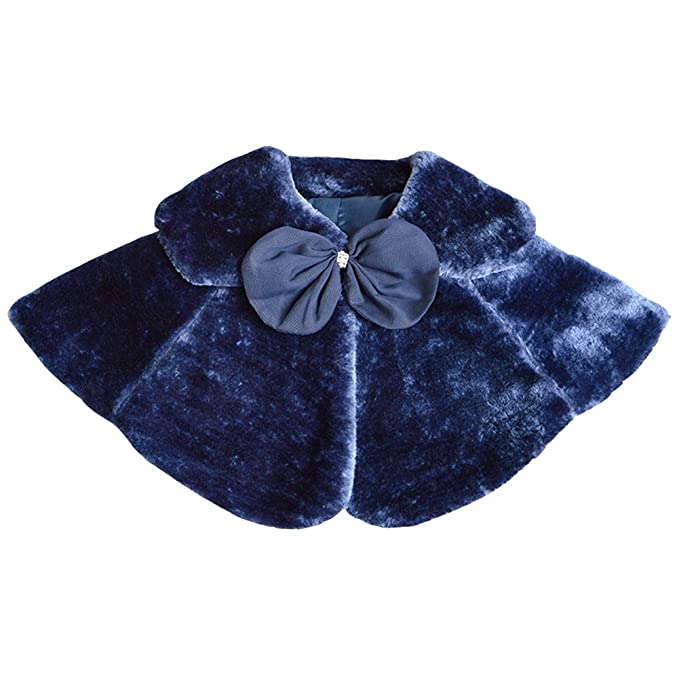Amur Leopard Flower Girls Faux Fur Bolero Shrug Princess Cape Small Blue