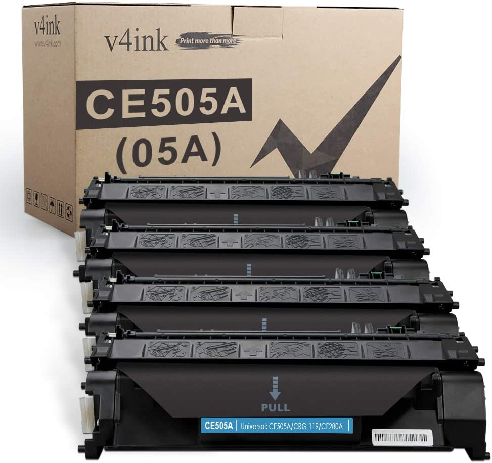 V4INK 4PK Compatible Toner Cartridge Replacement for HP 05A CE505A Toner Ink for HP Laserjet P2035 P2035n P2050 P2055 P2055d P2055dn P2055x, HP Pro 400 m401n m401dne m401dw M425dn M425dw Printer