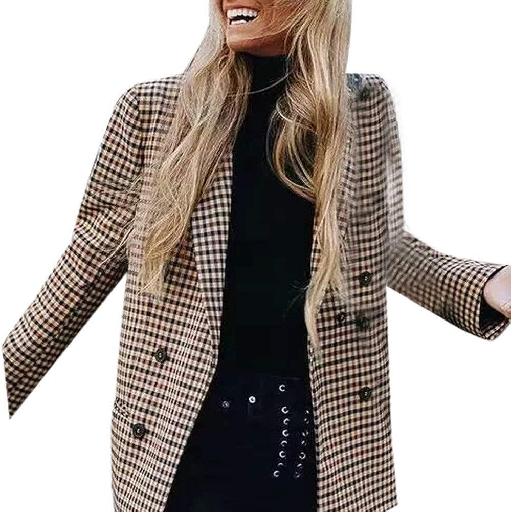 TALLA M. Cinnamou Chaquetas de Traje y Blazers a Cuadros para Mujer Cárdigans con Hombro Acolchado Ropa de Abrigo Abrigos de la Mujeres
