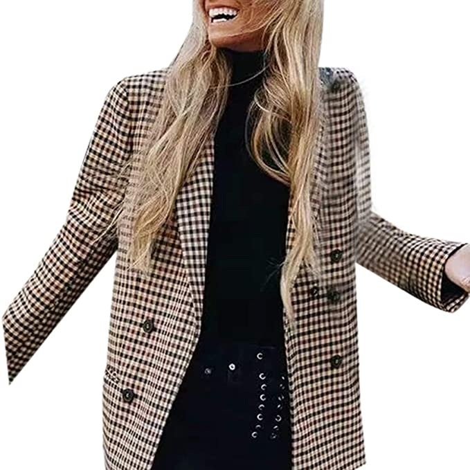 Amazon.com: TAORE Womens Vintage Check Plaid Suit Long Sleeve Casual Long Jacket Blazer: Clothing