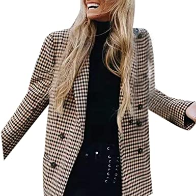 Alimao Women Fashion Winter Coat Retro Button Lattice Shoulder Pads Suit Long sleeve Coats Blouse Coffee