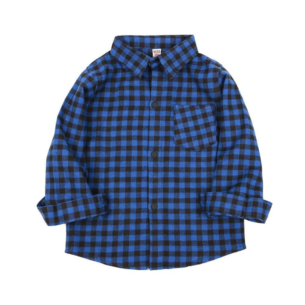 Zarupeng Kinder Jungen Mädchen Langarm T-Shirt Kariertes Hemd Tops Bluse Baby Kleidung Gentleman Freizeithemd