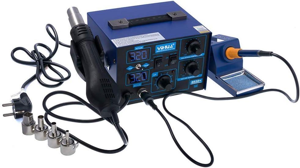Yihua 862D+ - Estación de soldadura digital (2 en 1, para CPU y tarjeta de memoria, 75 W, 650 W, 120 L/min, SMD)