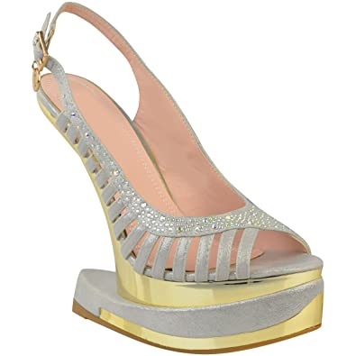 d4cbfbed5f6f68 Damen High Heels mit Plateausohle ohne Absatz - Silberfarben Metallic - EUR  35