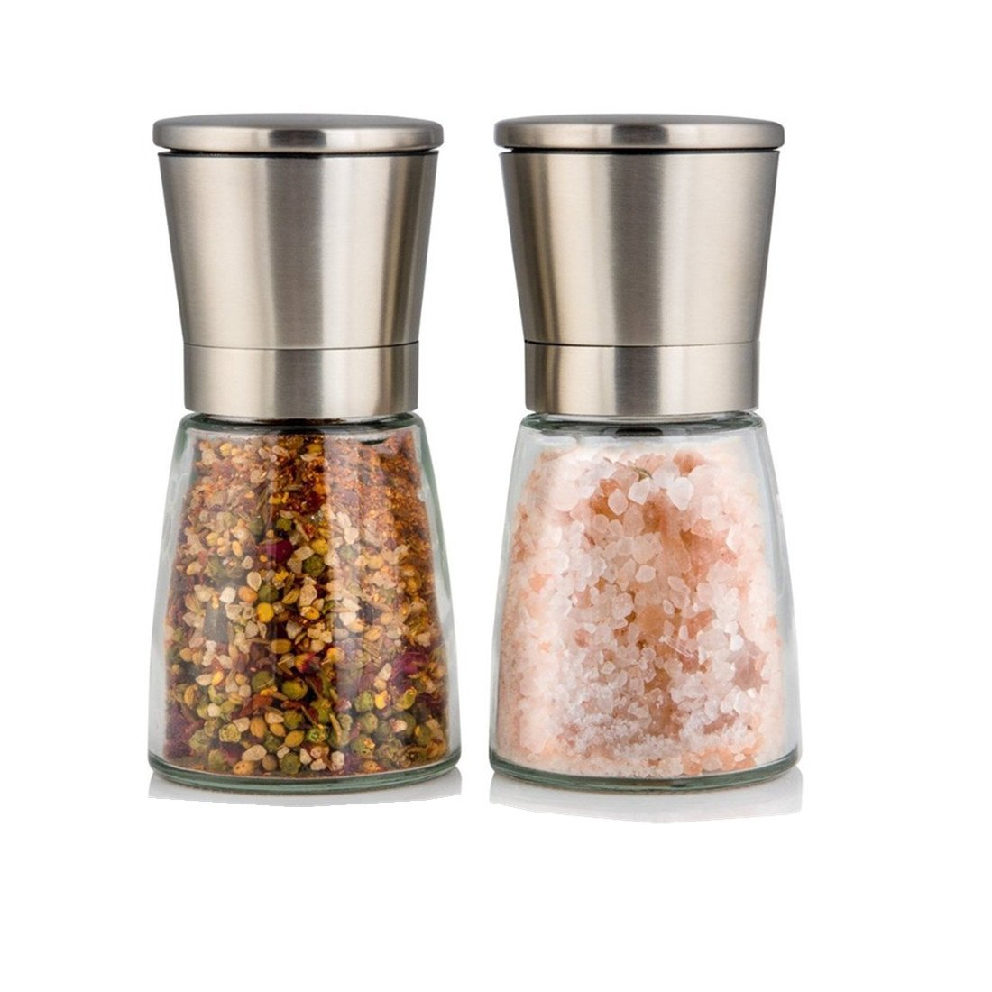 YouLike Stainless Steel Pepper Mill and Salt Mill Ceramic Grinder Set of 2 with Adjustable Coarseness Ceramic Suitable for Peppercorns, Sea Salt, Spices, Cumin and Other Seasoning YL
