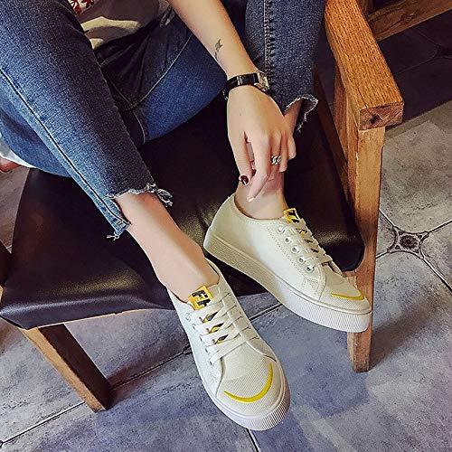 Scarpe Tela da piatto Comfort tonda Giallo Estate Yellow donna Nero Punta Sneakers Bianco ZHZNVX Tacco fdqwtaq