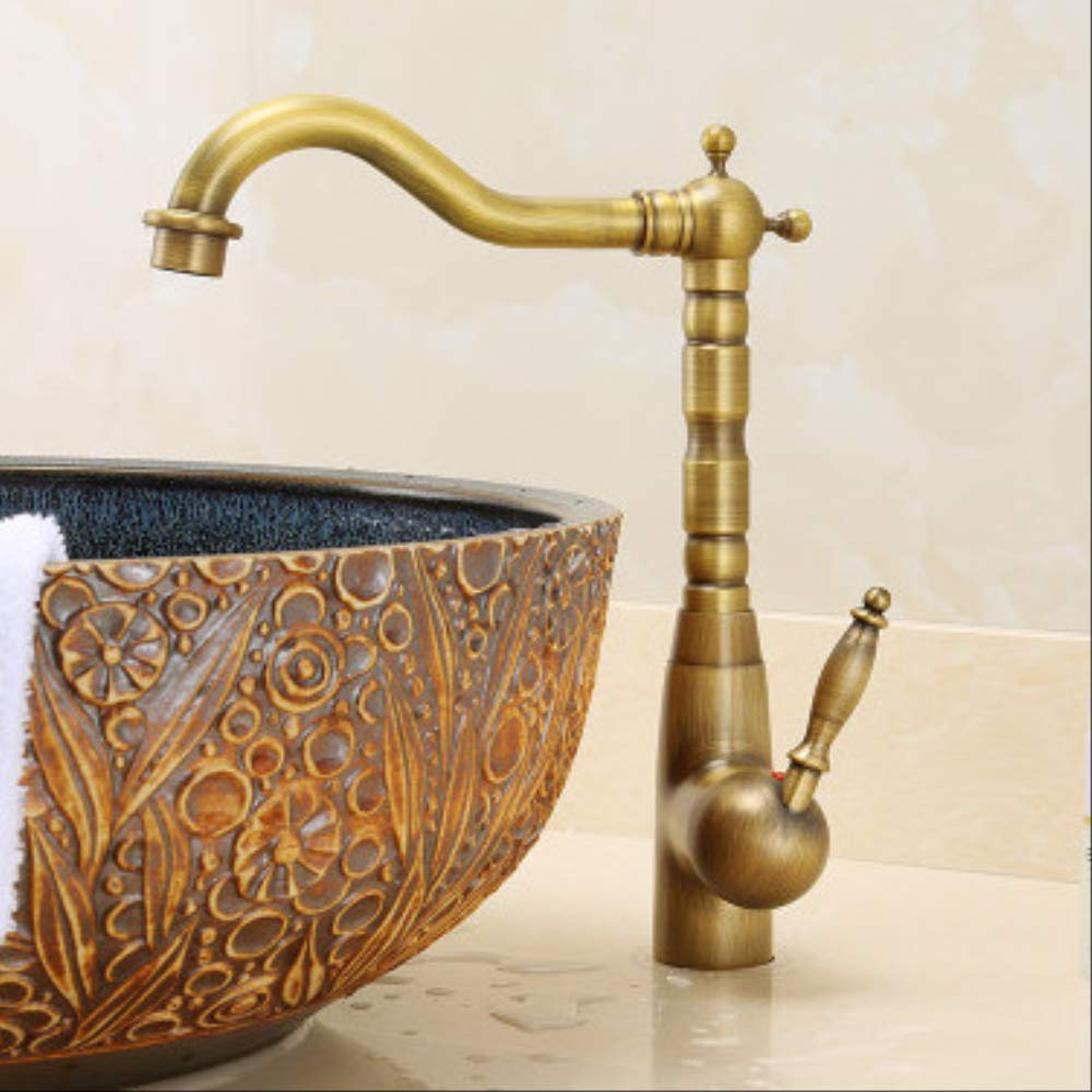 Bronze gold C Long All Copper Kitchen Hot And Cold Faucet Antique Retro Faucet Wash Vegetable Basin Faucet Toilet Basin Faucet Can Be redated b Long Black + pattern