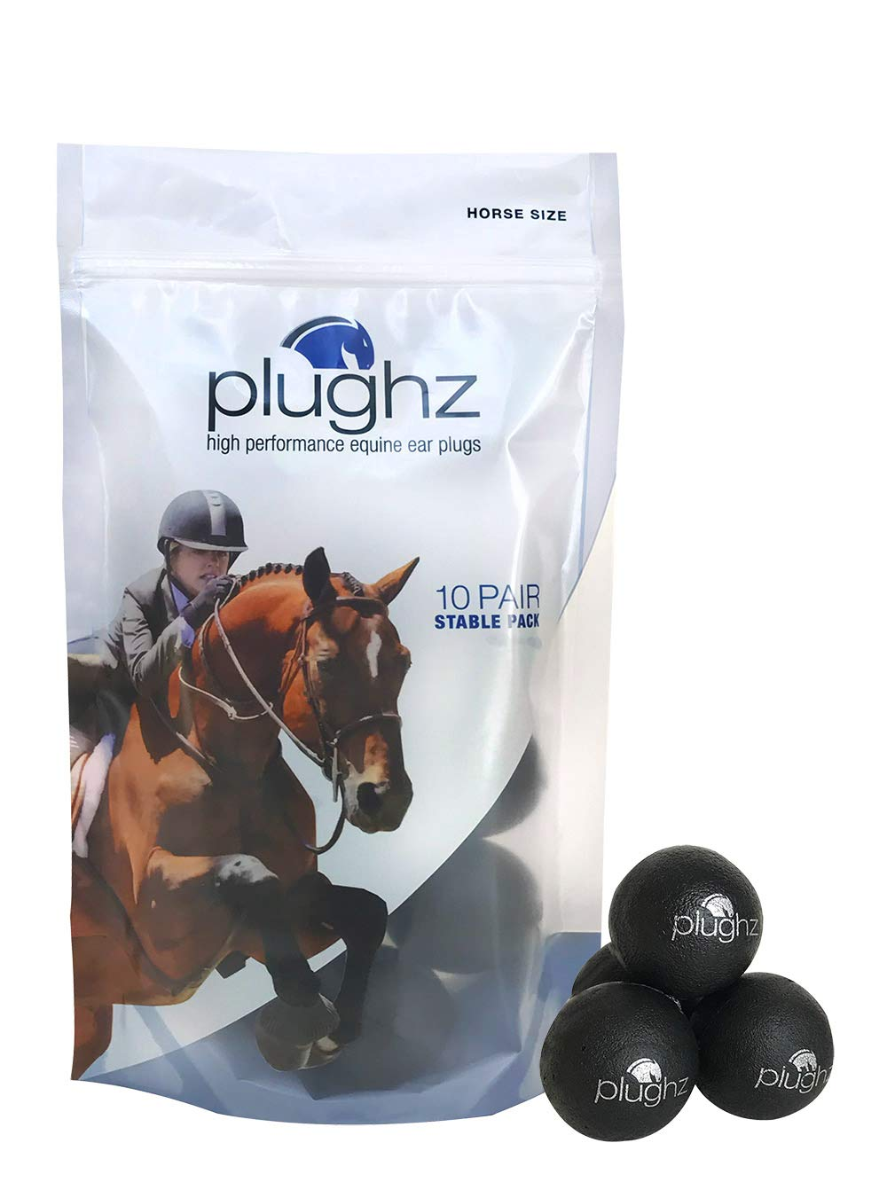 Plughz, 10 Pair Stable Pack Equine Ear Plugs, Horse Size
