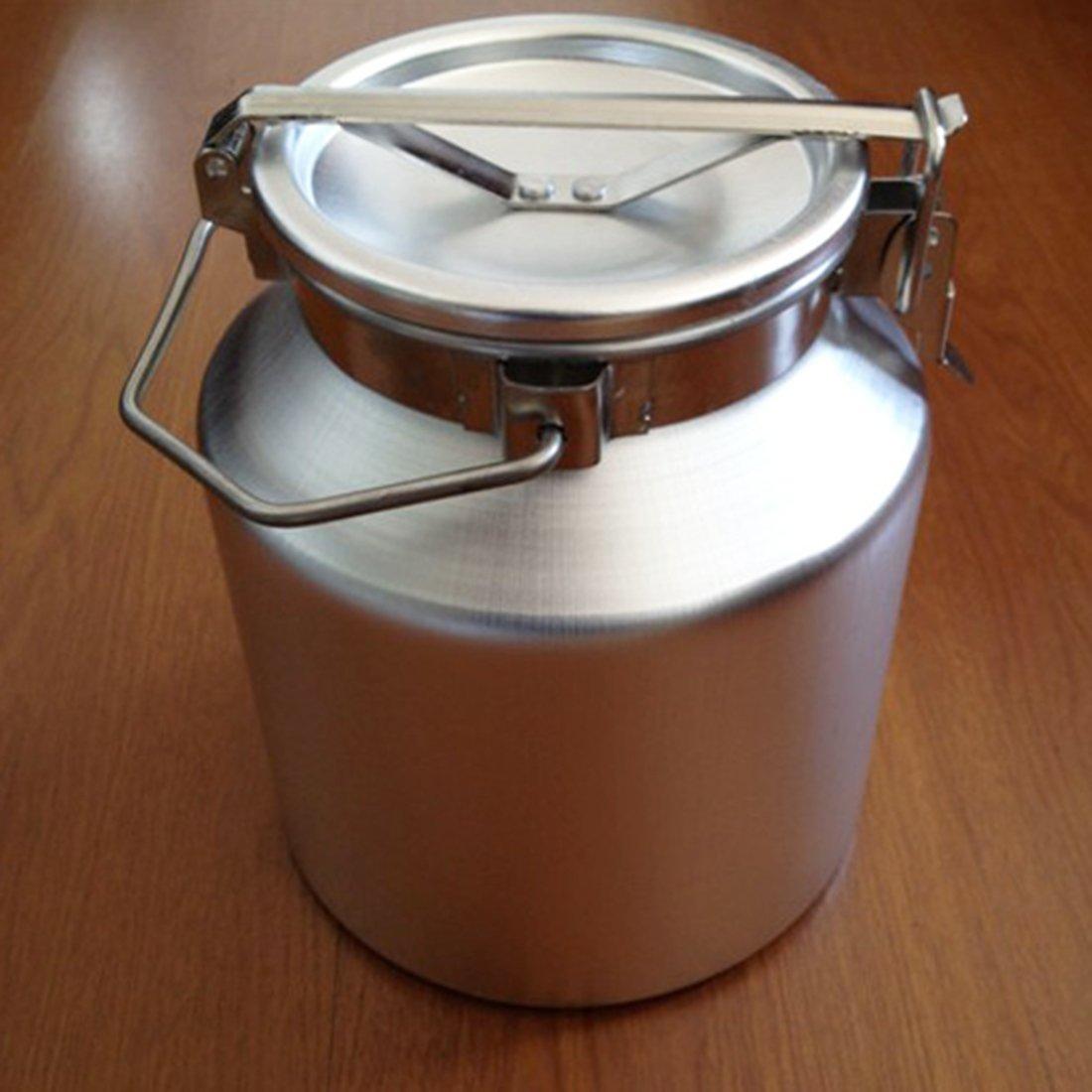 Rhegeneshop Aluminum Alloy Milk Can Wine Pail Bucket Tote Jug Lid 5 L
