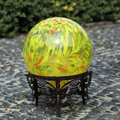 Colorful Glass Gazing Ball 10 inch (Yellow)