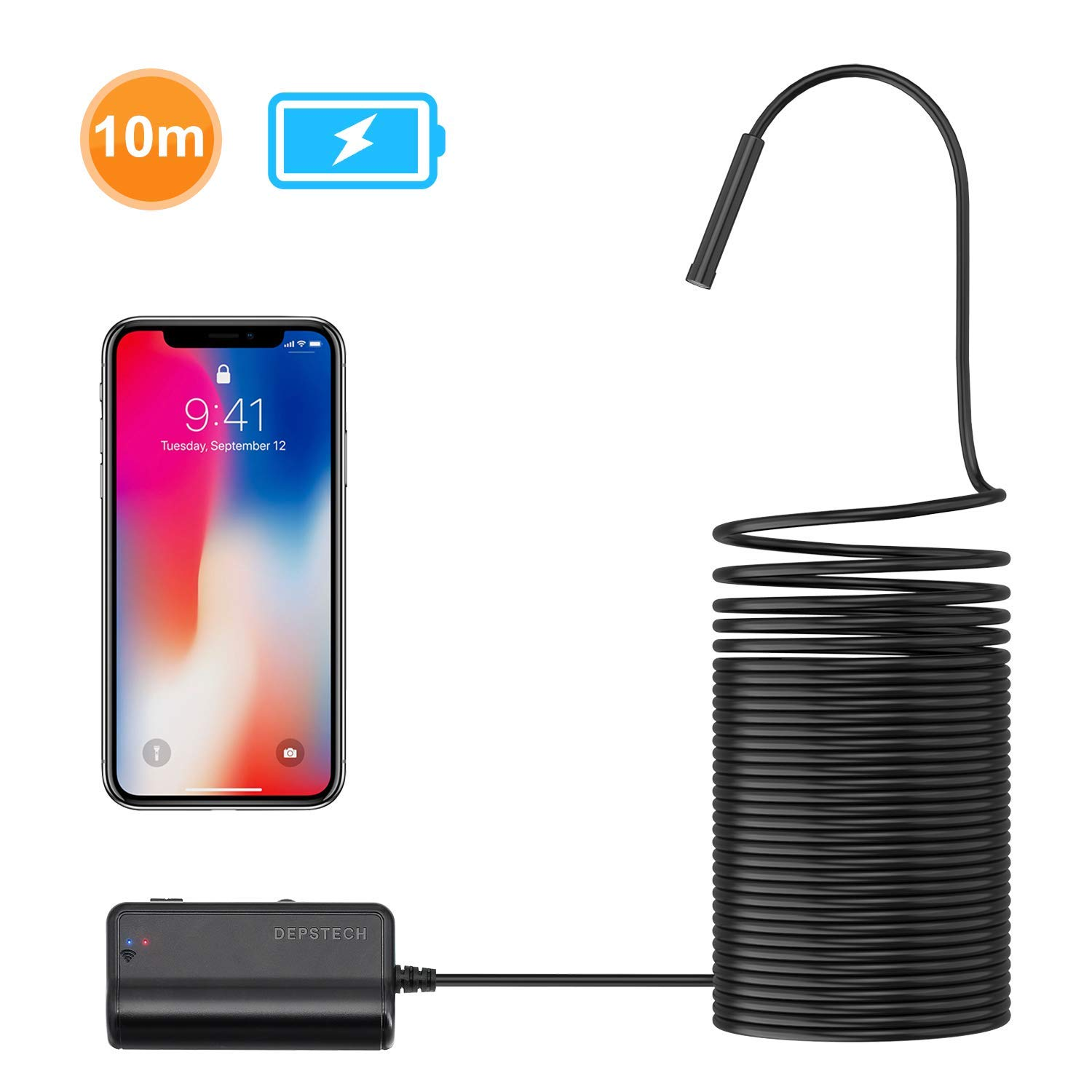 DEPSTECH 1200P Semi-rigid Wireless Endoscope, 2 0 MP HD WiFi Borescope  Inspection Camera,16 inch Focal Distance & 2200mAh Battery Snake Camera for