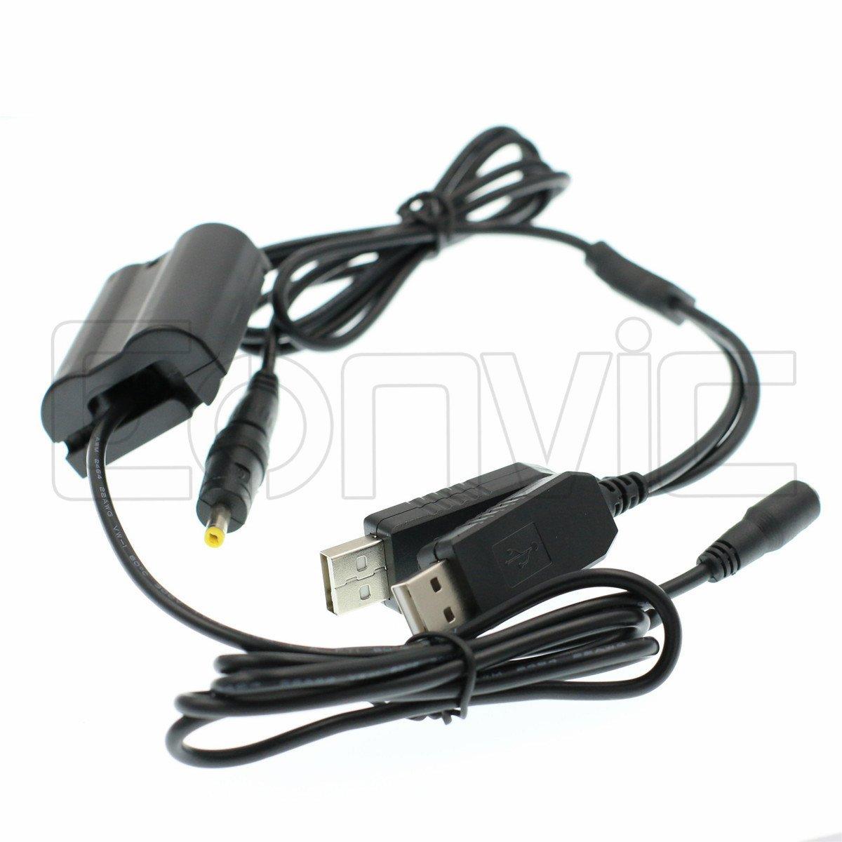 Eonvic EP-5B DC Coupler Dual USB Adapter Cable for Nikon V1 D800 D7200 D610 D810