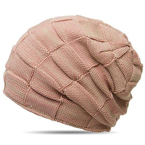 CASPAR MU135 Bonnet Beanie motif quadrillage doublé imitation fourrure, Couleur:rosa-beige;Taille:One Size