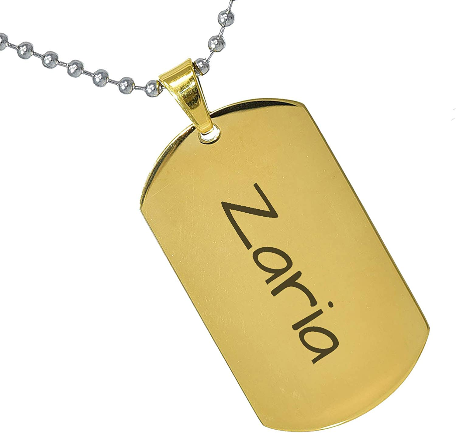 Stainless Steel Silver Gold Black Rose Gold Color Baby Name Zaria Engraved Personalized Gifts For Son Daughter Boyfriend Girlfriend Initial Customizable Pendant Necklace Dog Tags 24 Ball Chain
