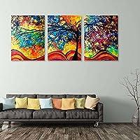 BigFamily Colorido Wealthy Pintura al óleo Ninguno Marco 3pcs Set Árbol Decoración Hogar Salón