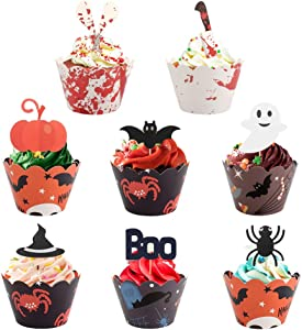 Kulannder Halloween Cupcake Toppers,96pcs Haunted House Cake Topper Halloween Cake Decoration for Theme Party Halloween Party