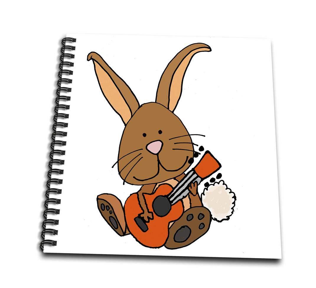 3dRose db/_270088/_3 Funny Cool Brown Bunny Rabbit Playing Guitar Cartoon Mini Notepad 4 x 4