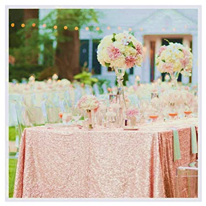Amazon Blush Tablecloth 60x102 Inch Rectangle Sequin Table
