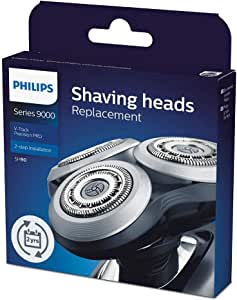 Philips Shaver Series 9000 Electric Shaver Head with V-Track Precision Blades PRO & Compatible with Shaver Series 8000 & 9000, Black/Silver, SH90/70