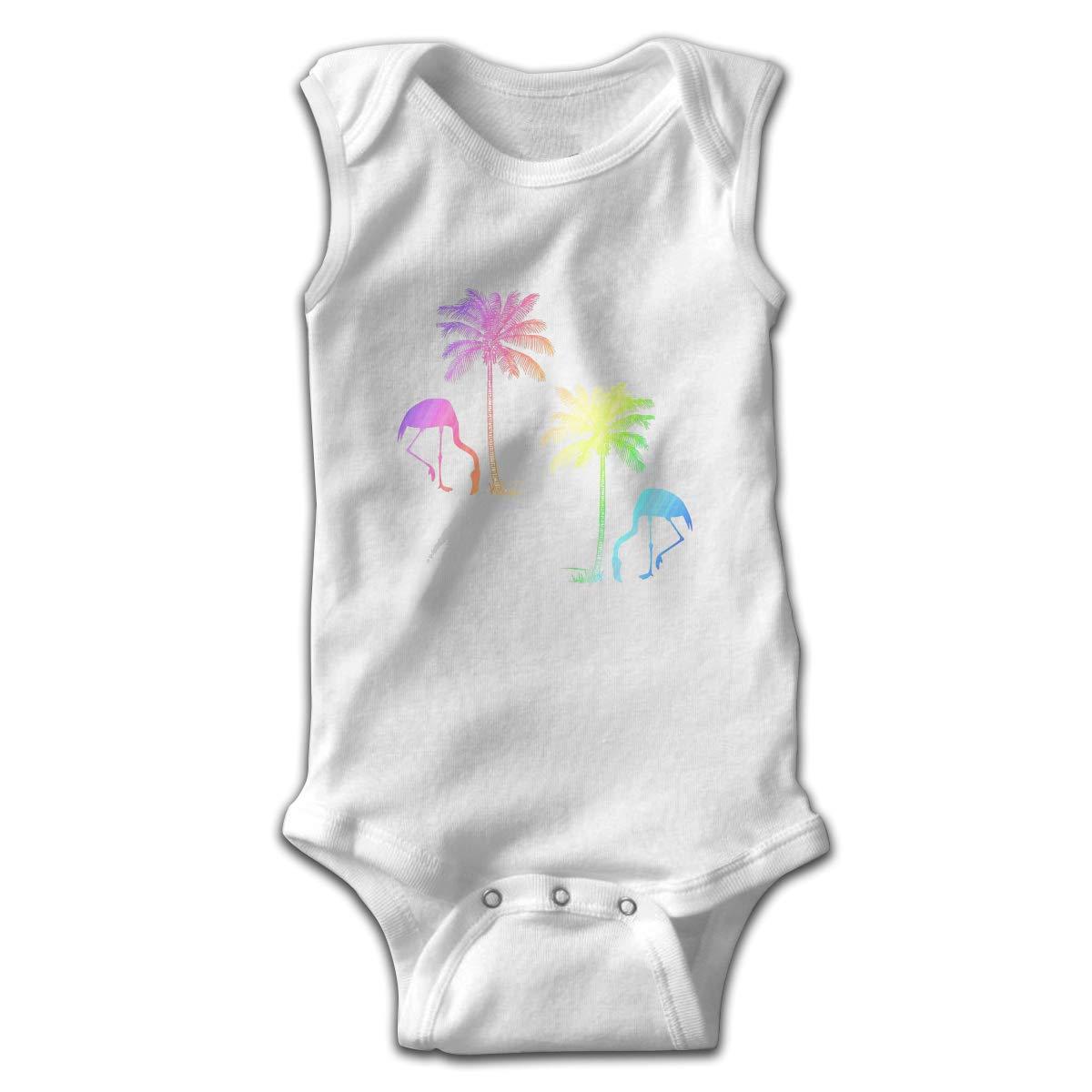 Coconut Trees and Flamingos Newborn Crawling Suit Sleeveless Romper Bodysuit Onesies Jumpsuit Black