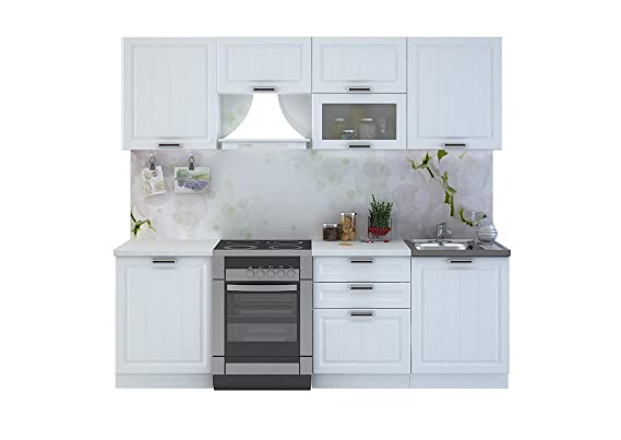 Küche prag 240 cm weiss küchenzeile einbauküche küchenblock erweiterbar module frei amazon de küche haushalt