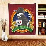 Gzhihine Custom tapestry Skull Tapestry Casino Background with Dead Skeleton Poker King Gambler Vegas Smart Game Graphic for Bedroom Living Room Dorm Multicolor
