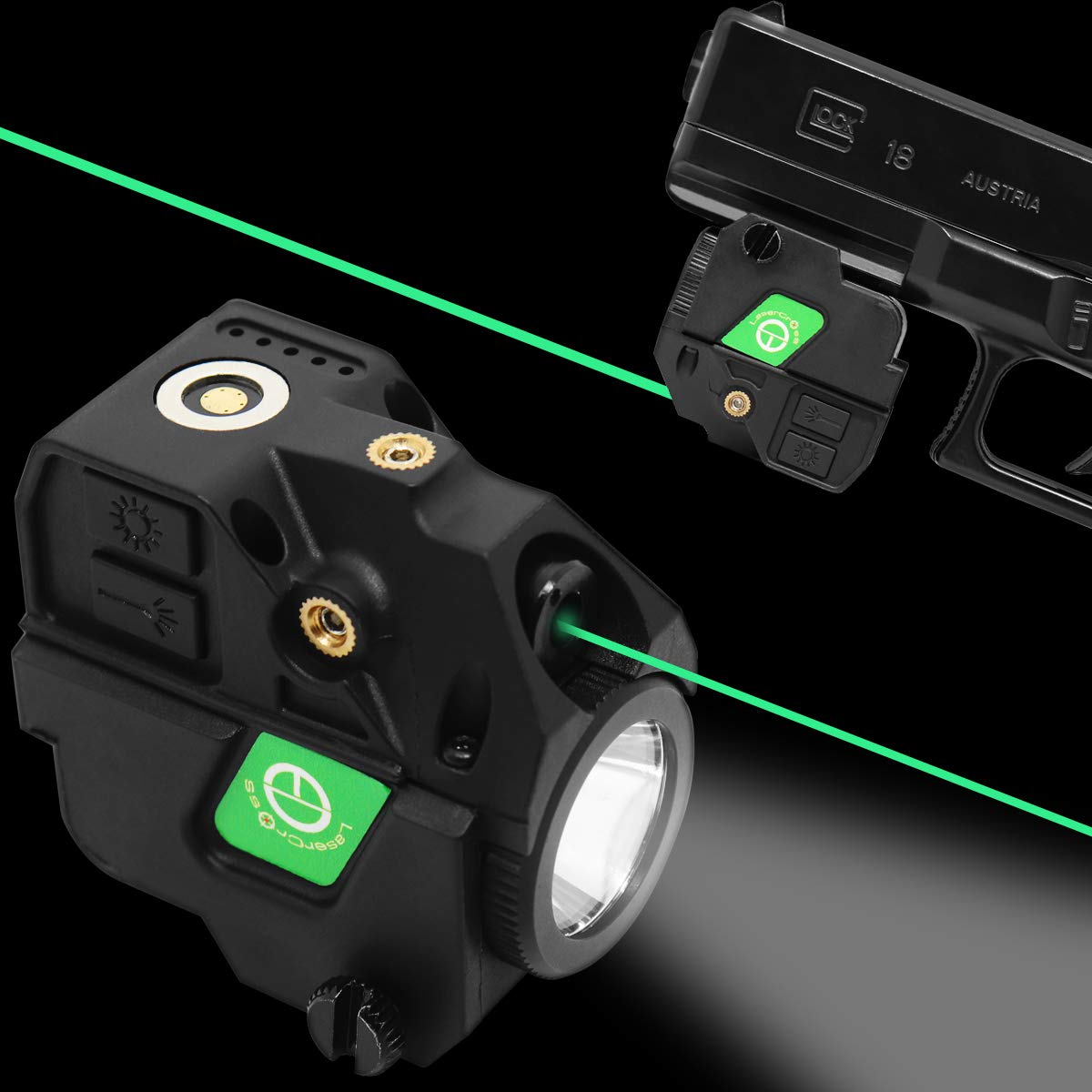 Lasercross New Version CL103 Laser Sight- Megnetic Touch Charging Green Dot Sight,LED Flashlight Combo Build-in Lithium Battery Sights with 20mm Rail Picatinny On/Off Switch for Air Pistol,Airgun by Lasercross