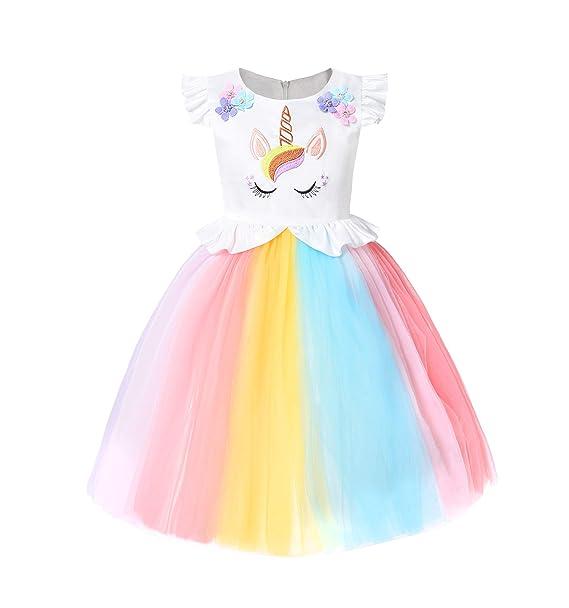 570218852b5fd Amazon.com: JerrisApparel Unicorn Party Dress Girls Halloween Costume Baby  Birthday Dress: Clothing
