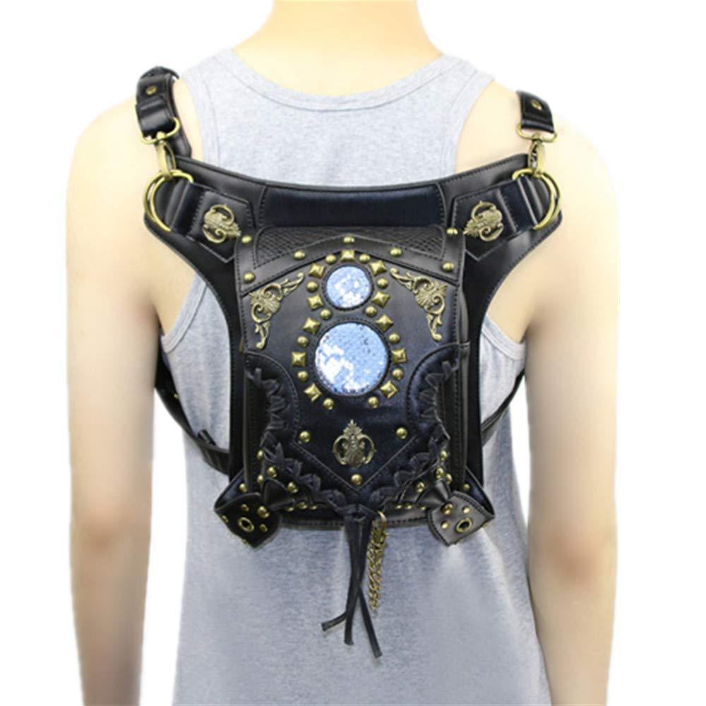 AlwaySky Victorian Retro Shoulder Waist Bags Steampunk Gothic PU Leather Fanny Bag for Steampunk Cosplay
