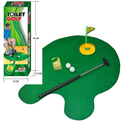 Tyger Games Toilet Golf, Potty Putter Toilet Time Golf Game, Toilet Golf Potty Putter Set, Great Gag Gift, White Elephant Gift or Dirty Santa Gifts: Sports & Outdoors