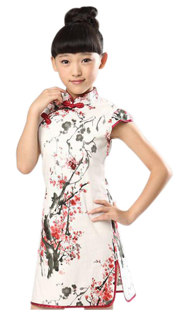 Suimiki Girls Kids China Style Chinese Qipao Floral Cheongsam Mini Dress, A, 130