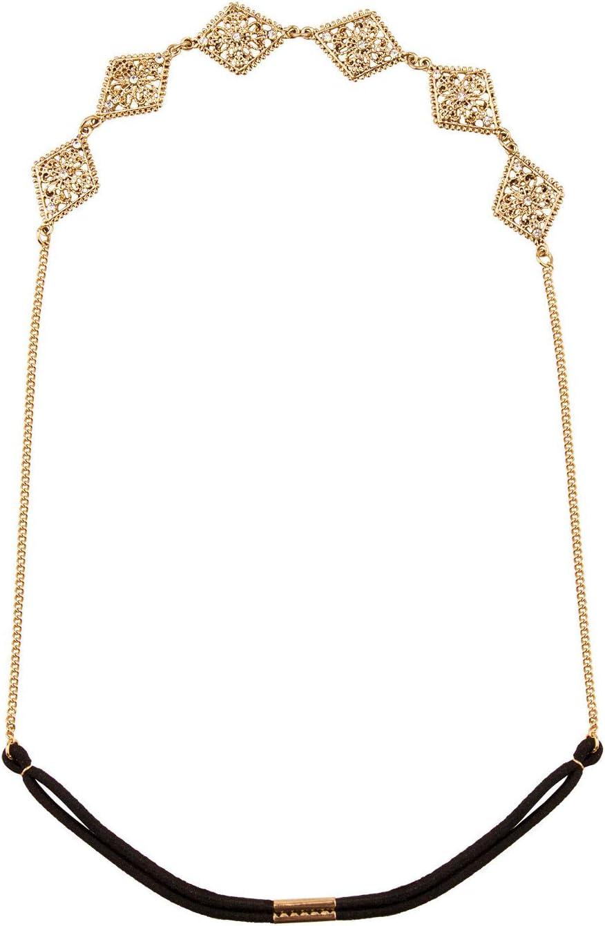 Six 456-704 - Adorno para el pelo con adornos orientales cuadrados y cinta de goma, color dorado