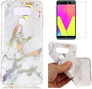 For LG G6 Marble Case Purple,OYIME Unique Luxury Glitter Colorful Plating Pattern Skin Design Clear Silicone Rubber Slim Fit Ultra Thin Protective Back Cover Glossy Soft Gel TPU Shell Shockproof Drop Protection Protective Transparent Bumper and Screen Prot