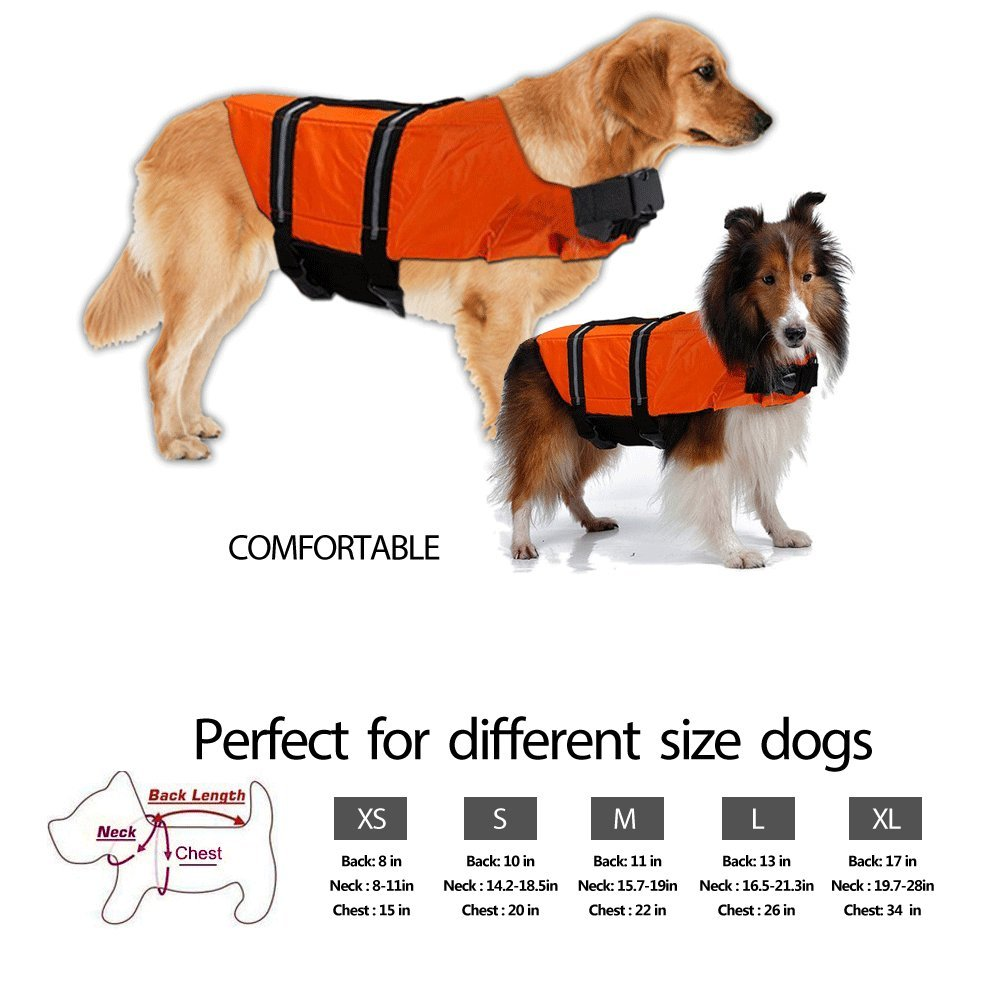 Gtpeak Dog Life Jacket Swimming Vest Saver with professional Flotation Device Reflective Stripe Adjustable Elastic Band Easy Grabbing Different Sizes by Gtpeak (Image #5)