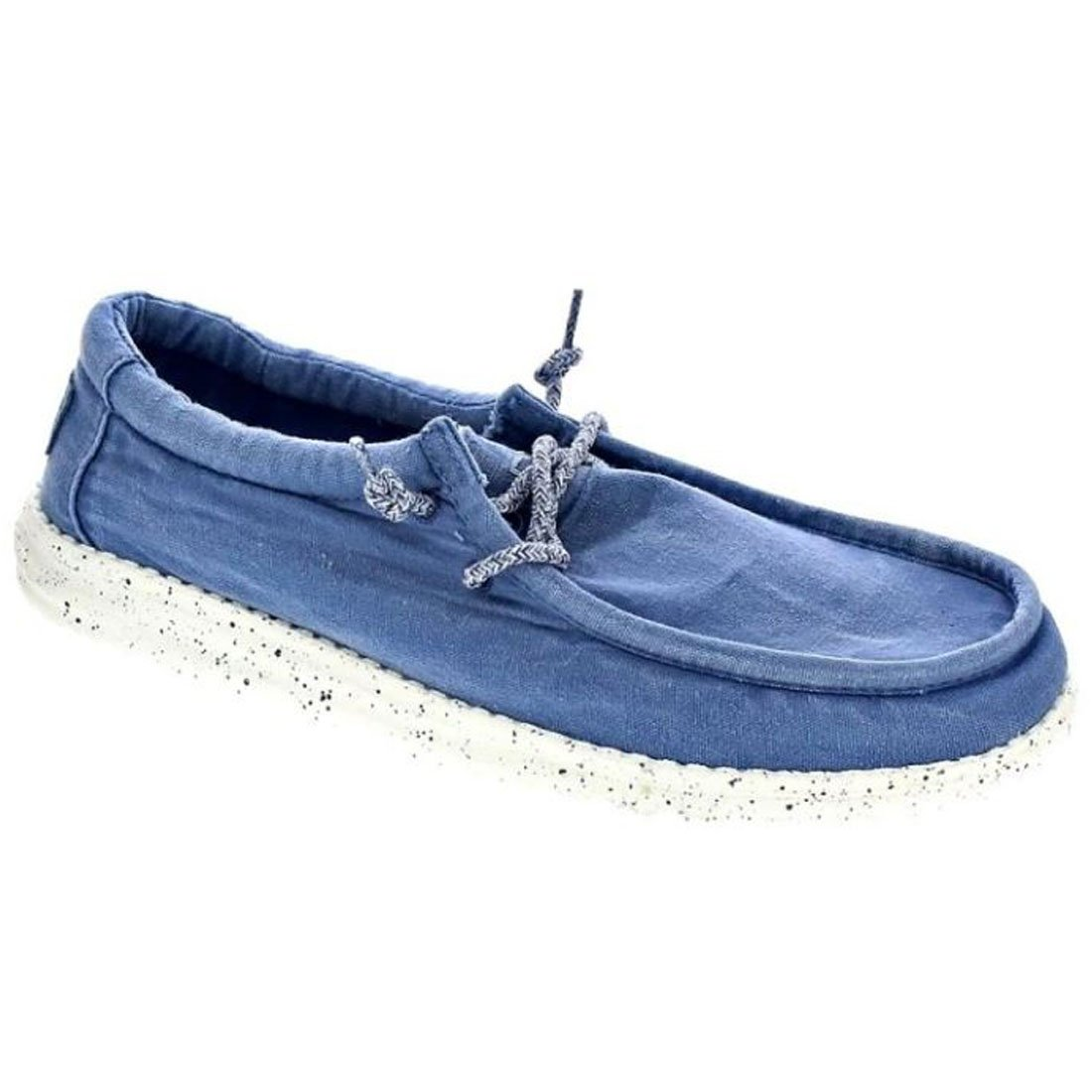 Dude Shoes Männer Wally Gewaschen Dunkelgrau Washed Steel Blue