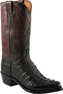 product image for Lucchese Mens N1104.R4 1883 Black Cherry Caiman Giant Tail Crocodile Cowboy Boots