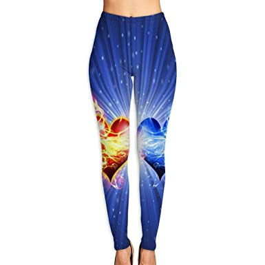 Fire and Water Heart Women Funny Print Yoga Leggings Pants Workout Fitness  Pants Sports Gym Yoga 6154d154215c6