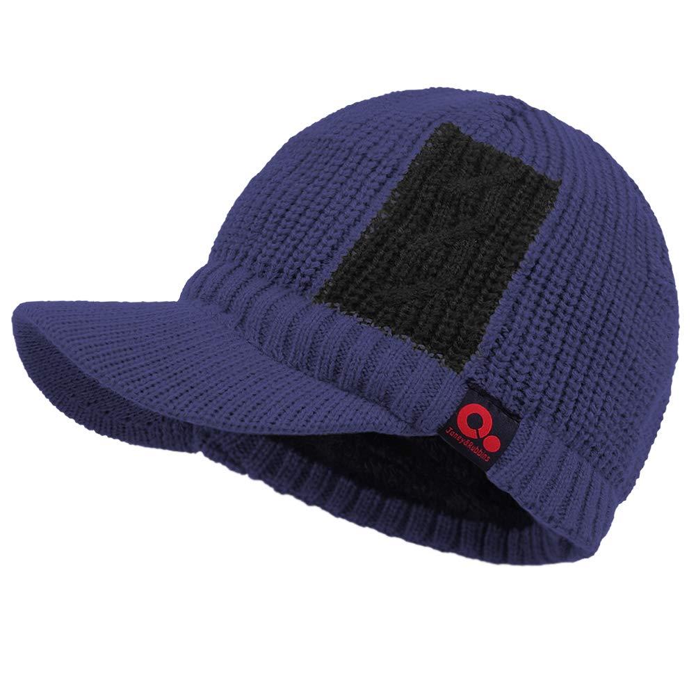 Janey/&Rubbins Sports Winter Two Tone Visor Beanie with Bill Knit Hat with Brim Fleece Lined Ski Cap TTVB-Grey