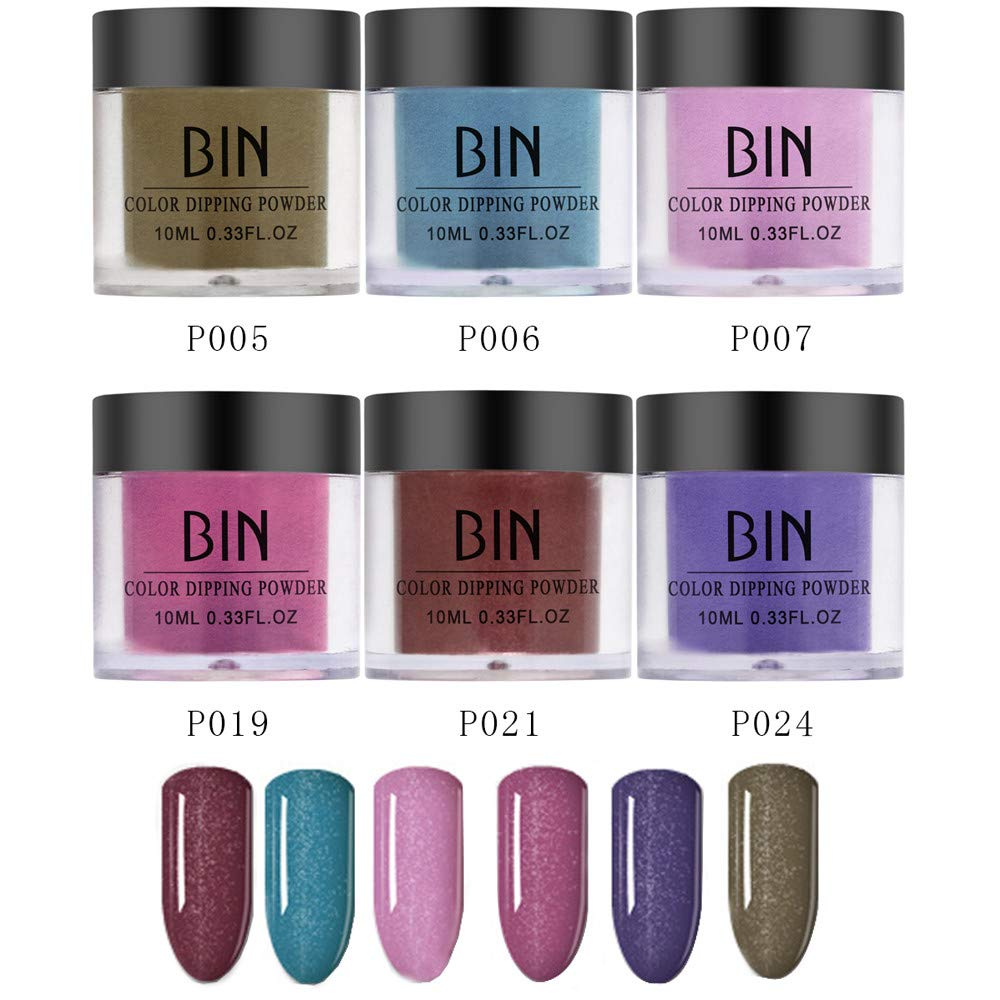 6PCS Nails Dip Powder Without Lamp Cure Natural Dry Nail Art Powder(Glitter), for Both Professional Salons and Beginner, 0.25oz / pot. by gofh
