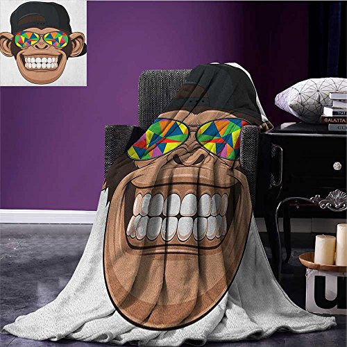 Cartoon wearable blanket Fun Hipster Monkey with Colorful Sunglasses and Hat Rapper Hippie Ape Art security blanket Brown Black White size:51